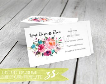 Business Card Template, Floral Rustic Watercolor Business Card, Instant Download, DIY Blank Business Card Template -BC006