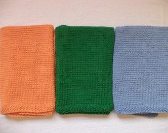 Baby blanket wool of 75 x 80 cm knitted blanket wool light blue green orange