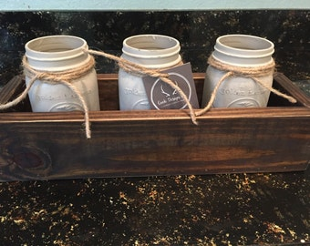 Rustic centerpiece, mason jar centerpiece, chalk paint jars