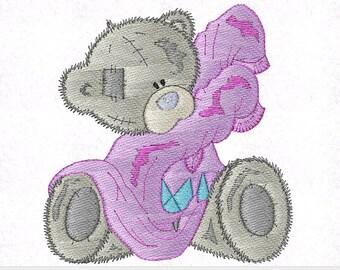 Tatty Teddy Bear Machine Embroidery Design, 4 Inch Hoop, Teddy Bear Patch, Animal Pattern, Bear Applique, Children Design, Instant Download