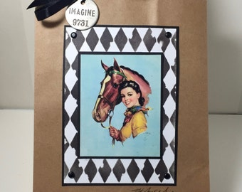 Cowgirl Gift Bag - Cowgirl Gift - Western - Rodeo - Vintage Cowgirl - Handmade