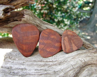 Wooden Guitar Pick, Hand-Crafted, Exotic Leopardwood - 3 pack