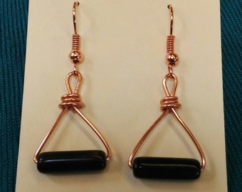Triangle black and copper earrings