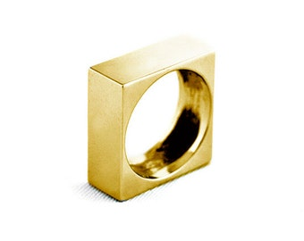 Bath ring yellow gold QADRAT