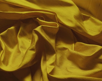 High quality pure silk dupion in gold per meter 120cm wide  UK