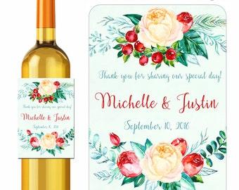 Custom Wedding Wine Labels Personalized Floral Laurel Wreath Bouquet Design Stickers Roses and Berries Flowers Waterproof Vinyl 3.5 x 5 inch