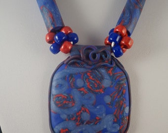Handmade printed pendant necklace polymer clay with large hole beads.