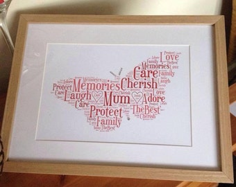 A4 Personalised Word Art Butterfly Print