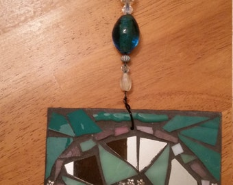 Turquoise stained glass, fused glass and mirror mosaic