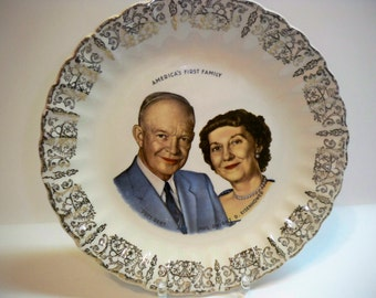 Vintage 1950s Americas First Family President and Mrs. Dwight D. Eisenhower Plate