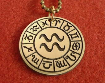 Zodiac sign Aquarius pendant