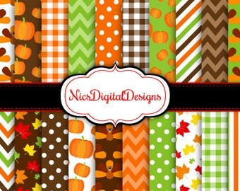 BUY 2 Get 1 FREE -20 Digital Papers. Turkeys and Pumpkin for Thanksgiving (3B no 1) for Personal Use and Small Commercial Use Scrapbooking