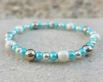 Blue and silver beaded stretch bracelet shiny silver, stardust silver and light blue pearl beads stacking fashion bracelets