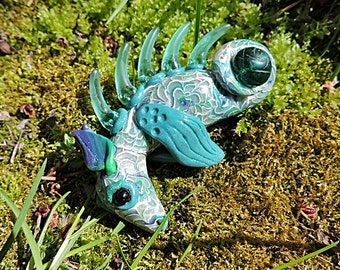 OOAK Baby Dragon Aqua Blue Polymer Clay Figurine