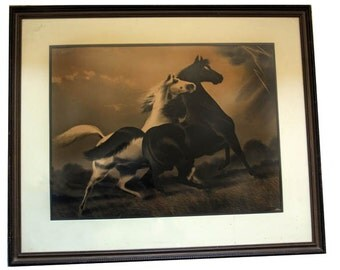 Antique Rare Extra Large Spirited Horses in a Thunderstorm lithographic print, framed