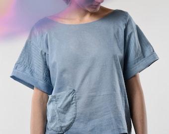blue shirt blouse top T handmade natural Indigo dyed vintage bio cotton designer basics Berlin quality