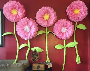 Flowers, Holdable with stems, 5pack- wedding, baby shower, flowers you can carry, tissue paper flowers & stems