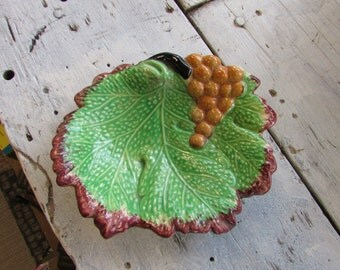 Adams Hand painted Grape Leaf with Grapes Dish