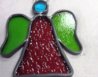 PRICE REDUCED Handmade leaded stained glass angel ornament
