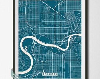 Edmonton Print, Canada Poster, Edmonton Map, Edmonton Poster, Canada Print, Canada Map, Alberta, Street Map, Independence Day