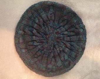 Wool superwash cable knit slouchy hat