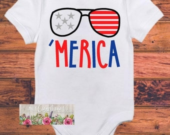Merica Bodysuit for Baby Boy - Boy Bodysuit- Baby Boy Gift - Merica Baby - 4th of July Bodysuit