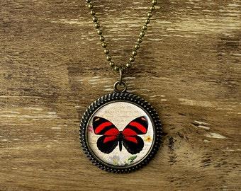 Butterfly pendant necklace, vintage style butterfly necklace