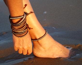 Leather Bracelet, Silver Bracelet, Brown Leather bracelet, Bracciale Cuoio&Argento, Brown Leather Anklet, Silver Anklet, Unisex Bracelet