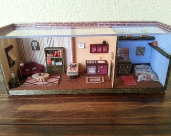 "1:48 scale dolls house miniatures roombox ""apartment"""