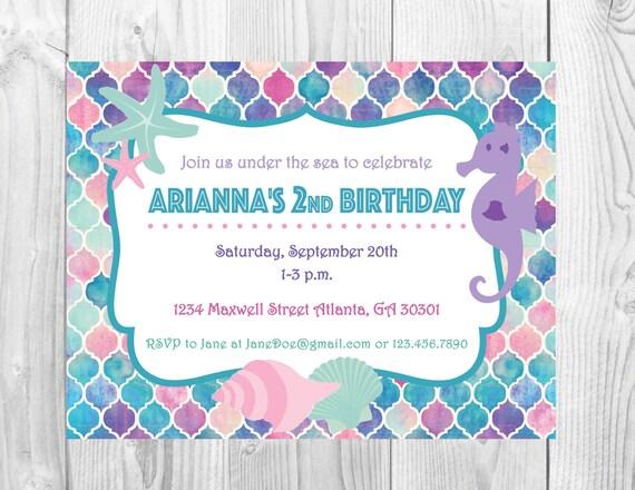 Under the Sea Birthday Party Invitation >> Mermaid Birthday Party Invitation << Girls Birthday Party Invite >> Custom Printable Digital File