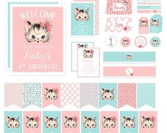 Vintage Kitten Birthday Party Decorations, Kitty Cat Birthday Invitation Printable, Shabby Chic Pink and Aqua Vintage First 1st 2nd Birthday