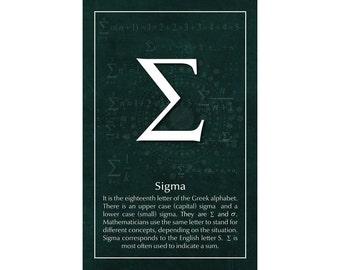 Math Poster, Sigma, Printable Poster, Maths, Education