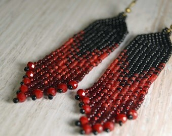 Red and Black, Fringe earrings, Beaded earrings, Seed bead and crystals earrings,  boho earrings, beadwork jewelry