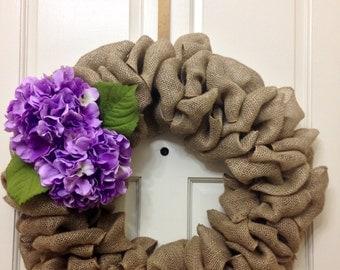 Burlap Spring Wreath   Purple Hydrangeas