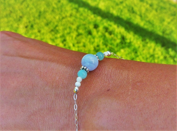 Bracelet chalcedony, Amazonite and mother-of-Pearl in Silver 925
