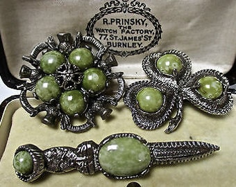 3 Beautiful Vintage Miracle Scottish Green Agate Silver Tone Brooches/Pins