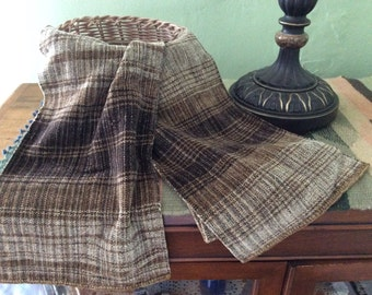 Hand-Woven Rayon Chenille Scarf in tans, beige, black