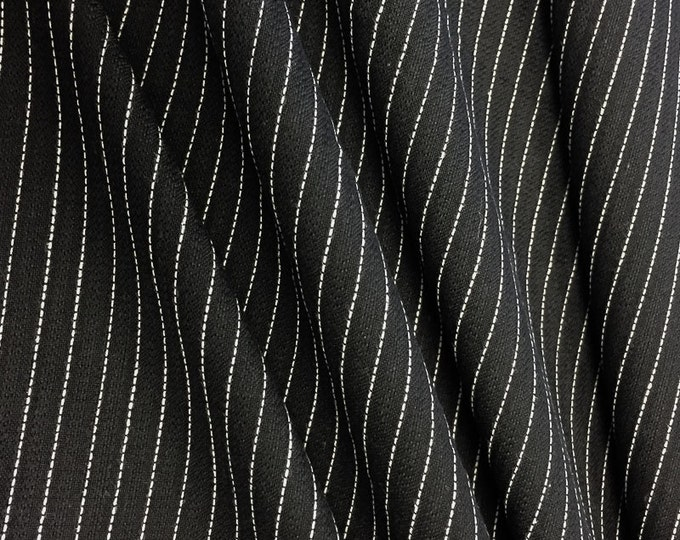 Premium Quality Pinstripe Suiting Woven Fabric By the Yard (Wholesale Price Available By the Bolt) - 10057 Black - 1 Yard