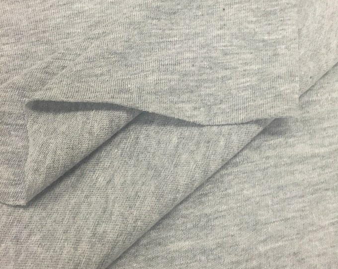 Cotton Blend Jersey Knit Fabric (Wholesale Price Available By The Bolt) USA Made Premium Quality - 2830RH10 Heather Grey - 1 Yard