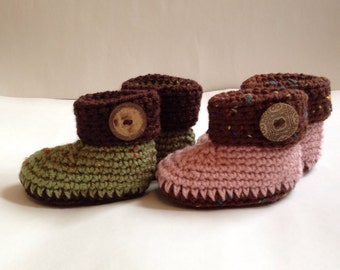 """Crochet Baby """"Ugg"""" Style Booties - Unique Coconut Buttons - Made in various sizes and Colors - 0-3 mos.,  3-6 mos.,  6-9 mos., 9-12 mos."""