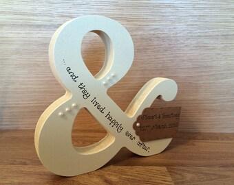 Handmade wedding gift - personalised ampersand &
