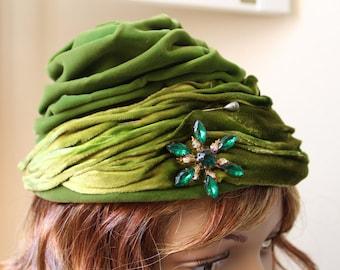 Vintage Hat, Union Made Hat, Beret, Velour Vintage Hat, Green Hat, Elegant Hat, Statement Hat #18