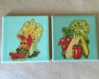 1940s Pic-Tiles by Mary Allen. Kitchen Tiles Mint Green with Vegetable Theme. Kitchenalia