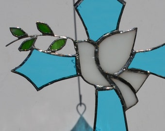 Stained Glass Blue Waterglass Cross with Peace Dove and Olive Branch suncatcher