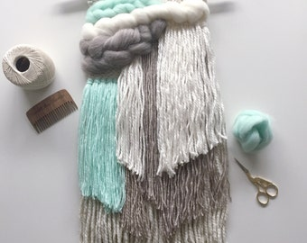 Woven Wall Weaving / READY TO SHIP/ Wall Hanging / Turquoise Toupe Cream White Neutral / Nursery Art / Home Decor / Boho / Wall Art /