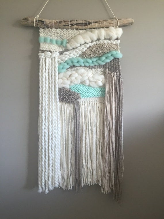 Woven wall hanging // MADE TO ORDER / Wall Hanging / Turquoise Toupe Cream White Neutral / Nursery Art / Home Decor / Boho / Wall Art /