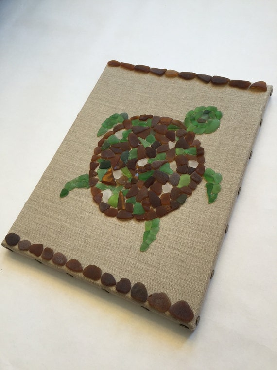 Sea glass turtle home decor real sea glass green brown for Turtle decorations for home