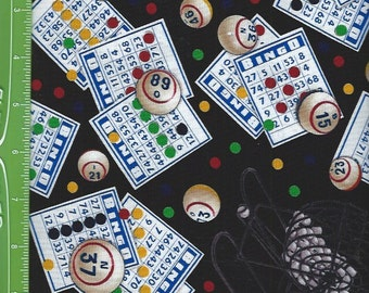 Bingo game cards,buttons, on Black, Elizabeth Studio