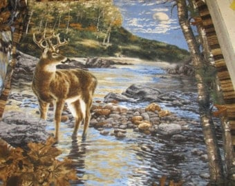 "Fleece ,Real tree Deer Panel by the Lake, 62""x54"""
