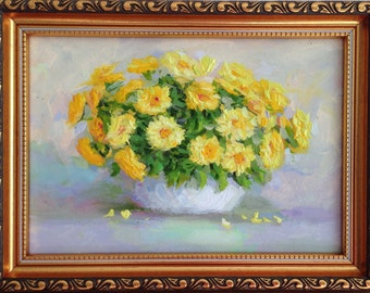 Original Signed oil painting on cardboard framed artwork still life yellow flowers in vase fine art botanical bouquet
